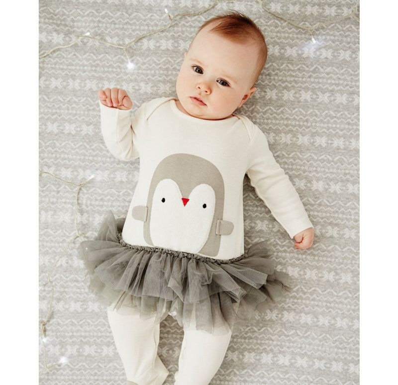 2016 nouveau mignon bébé filles barboteuse pingouin de bande dessinée avec  TUTU jupe infantile et nouveau