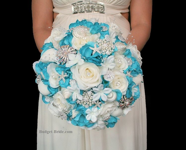 Beach Theme Wedding Bouquets with turquoise and white roses ...