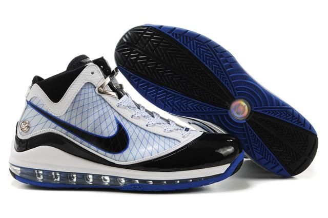 Air Foamposite Nike LeBron 7 White Black Blue [Nike LeBron 7 - Newest Nike  LeBron 7 White Black Blue kicks feature the ankle area adorned with silver  metal ...