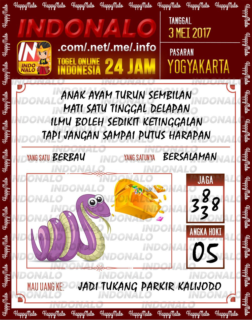 Kode Kuat 3D Togel Wap Online Indonalo Yogyakarta 3 Mei 2017