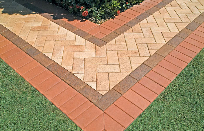 Paving Doesn T Have To Be Boring Add Some Interest To Your Paving By Using Contrasting Colours That Lo Precast Concrete Outdoor Barbeque Landscaping Supplies