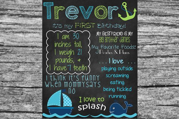 custom whale first birthday poster board sign printable size 16x20