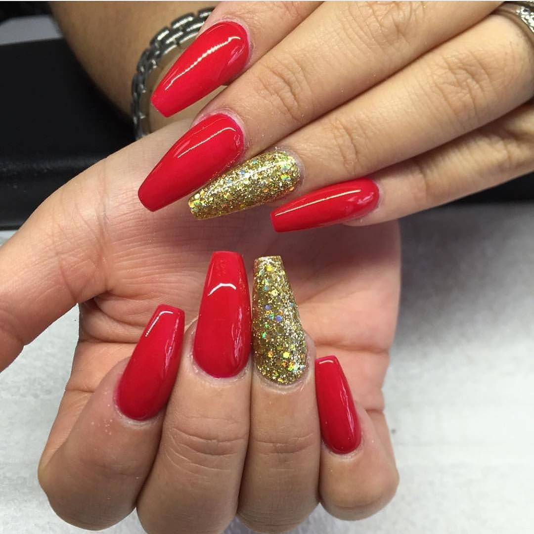 Instagram Photo By The Nail Bar Sydney Apr 16 2016 At 5 30am Utc Red And Gold Nails Gold Nails Gold Acrylic Nails