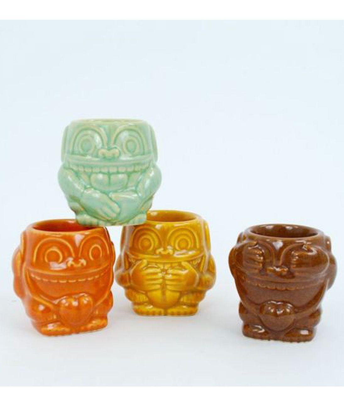Tropical Tiki Stoneware Monkey Shot Glass Set #uniquevintage