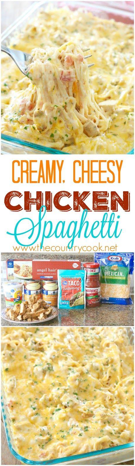 The country cook creamy cheesy chicken spaghetti food for Ideas para cocinar pasta