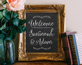 Welcome Sign Decor Entrancing Wedding Sign Printable Chalkboard Customized Wedding Poster Inspiration