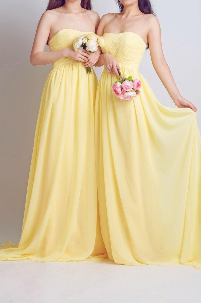Chiffon full length strapless bridesmaid dress tbqp krystalus