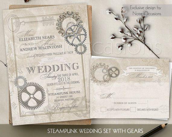 Steampunk Vintage Wedding Invitation Printable Vintage Gears Etsy Industrial Chic Wedding Invitations Wedding Invitations Diy Steampunk Wedding Invitation