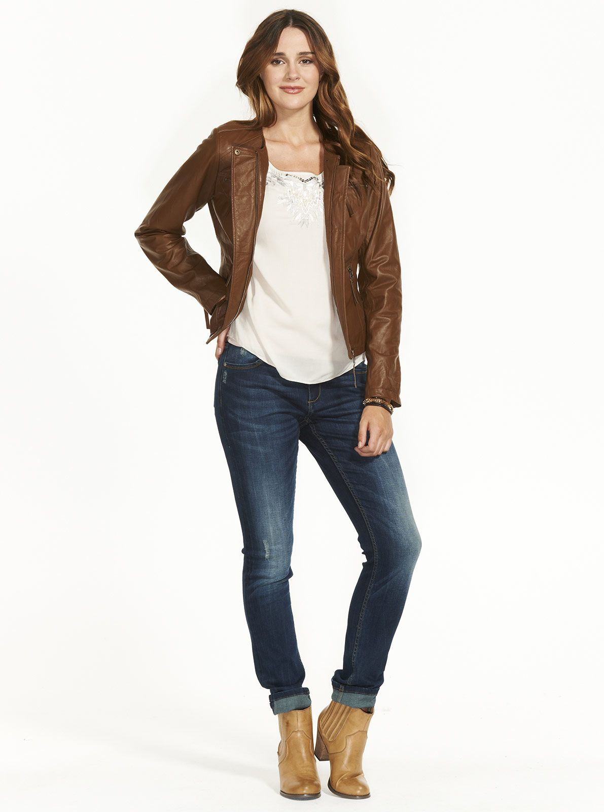 Image for Collarless Zip Leather Jacket from Just Jeans