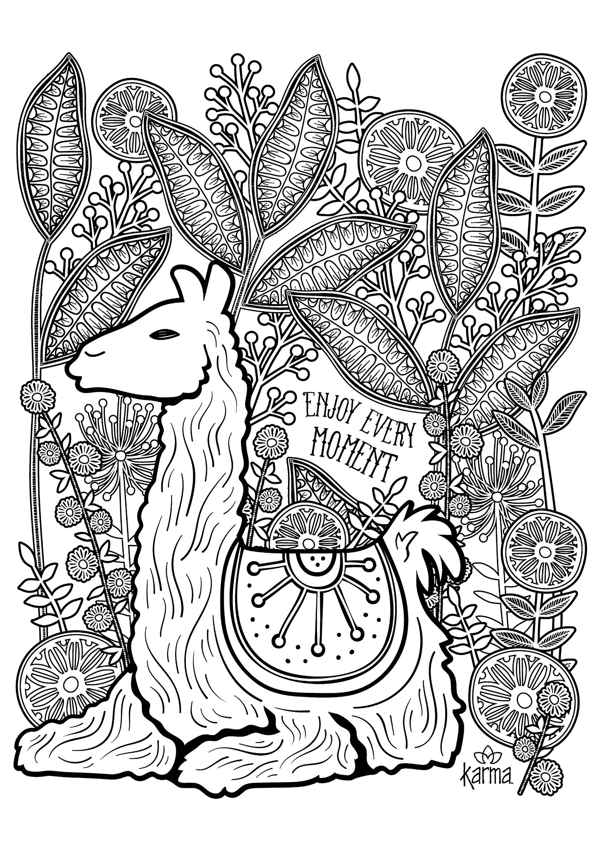 Llama Enjoy Every Moment Llama To Color With The Text Enjoy Every Moment From The Galle Coloring Pages Kids Printable Coloring Pages Bird Coloring Pages