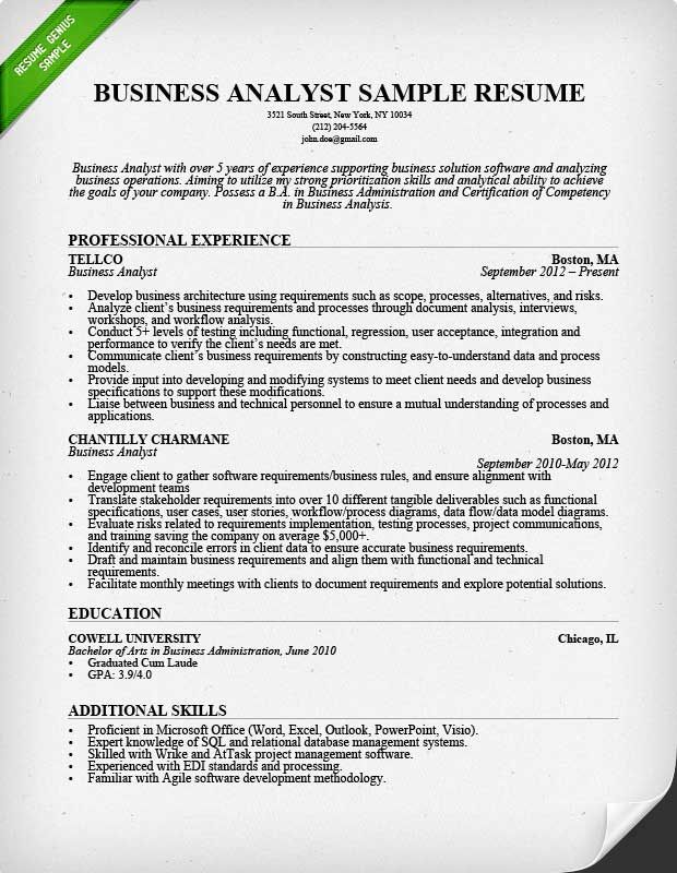 Business Analyst Resume Sample Business Analyst Resume Business Analyst Professional Resume Samples