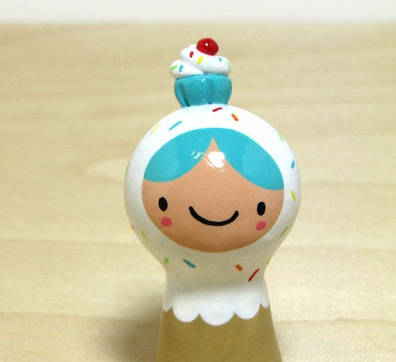 Carnival Cupcake Girl Plini Figurine by magicbeanbuyer on Etsy, $16.00