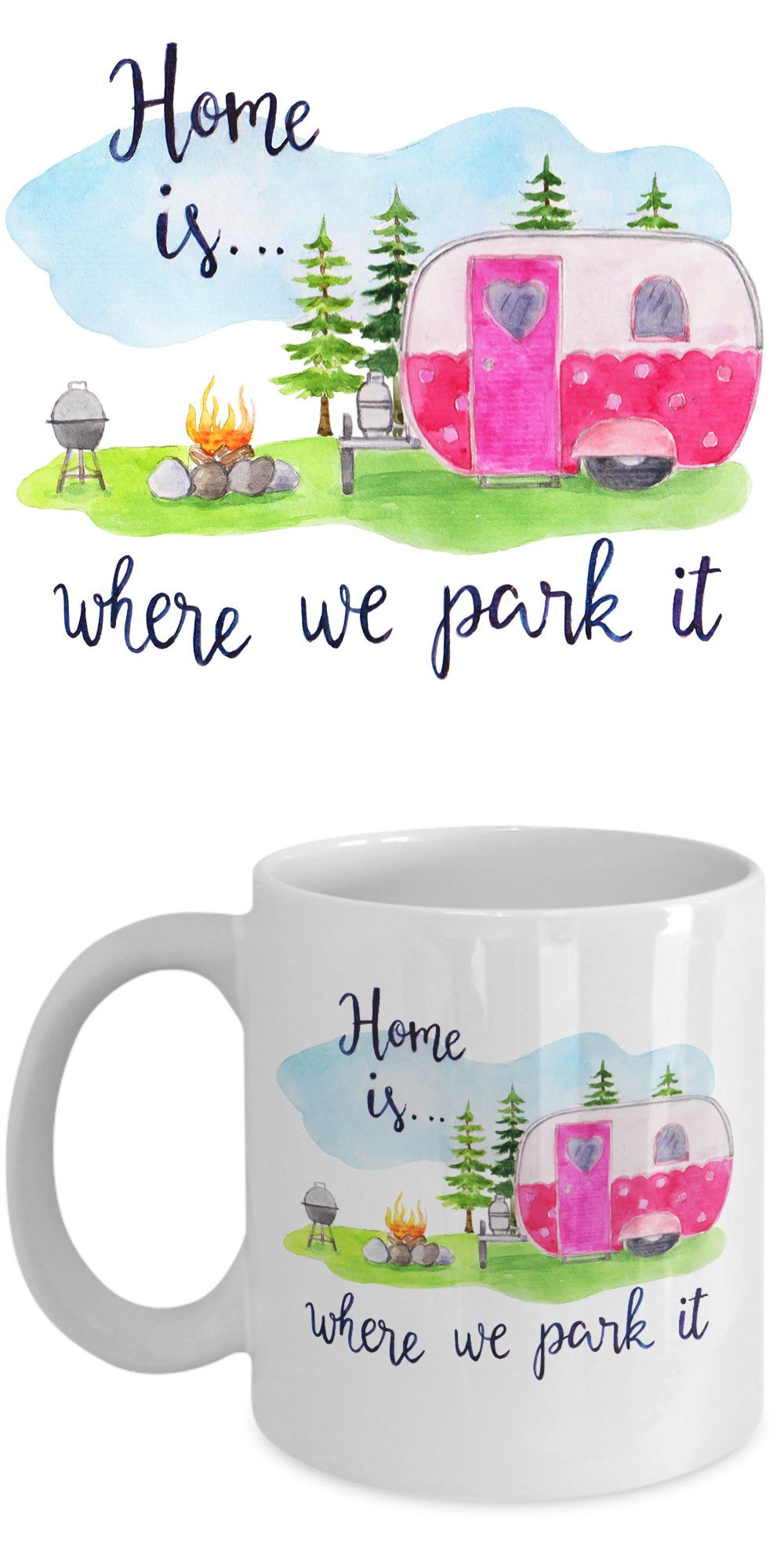 Cute mug for your favorite RVer! Cute watercolor design in vibrant colors.