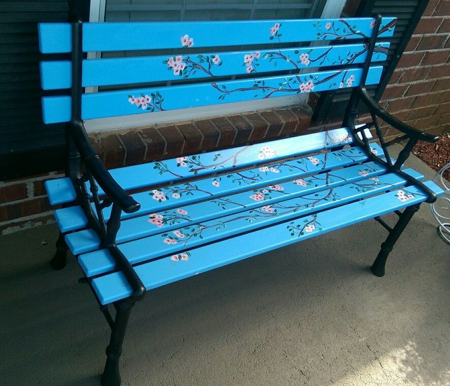 DIY painted Park Bench painted cherry blossoms Lowes has perfect