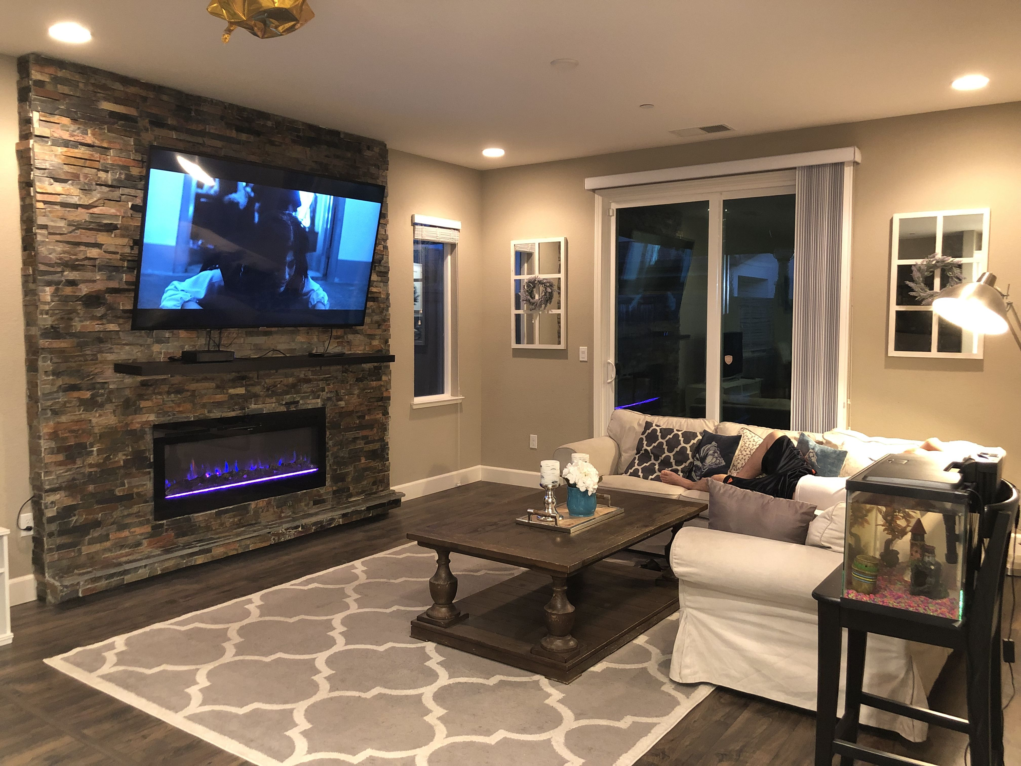 Stone Ledge Tv Wall Accent With Fireplace 75 Inch Stone Feature Wall Accent Walls In Living Room Beautiful Living Rooms