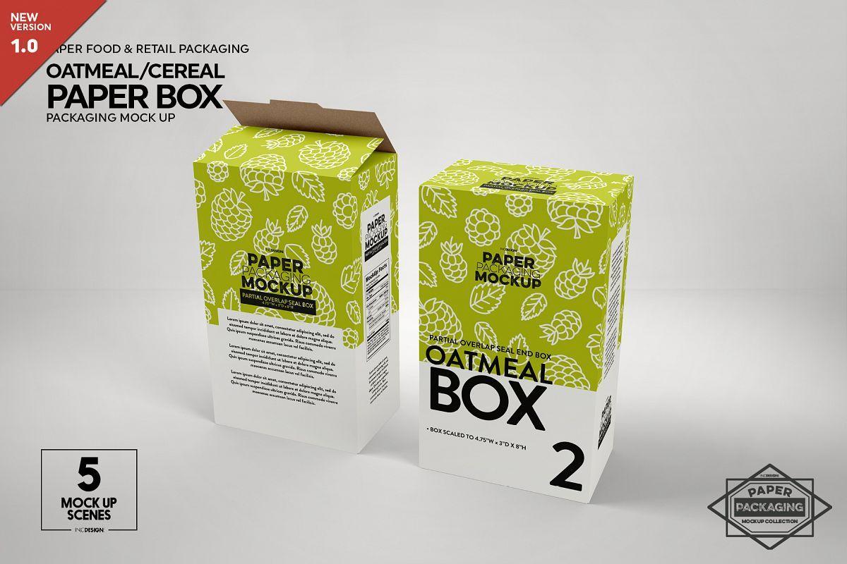 Paper Oatmeal Cereal Box Packaging Mockup 404128 Branding Design Bundles In 2021 Design Mockup Free Packaging Mockup Box Packaging