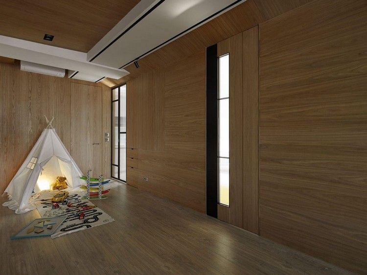 Wand In Betonoptik Und Holzverkleidung Innen Fur Ein Stilvolles