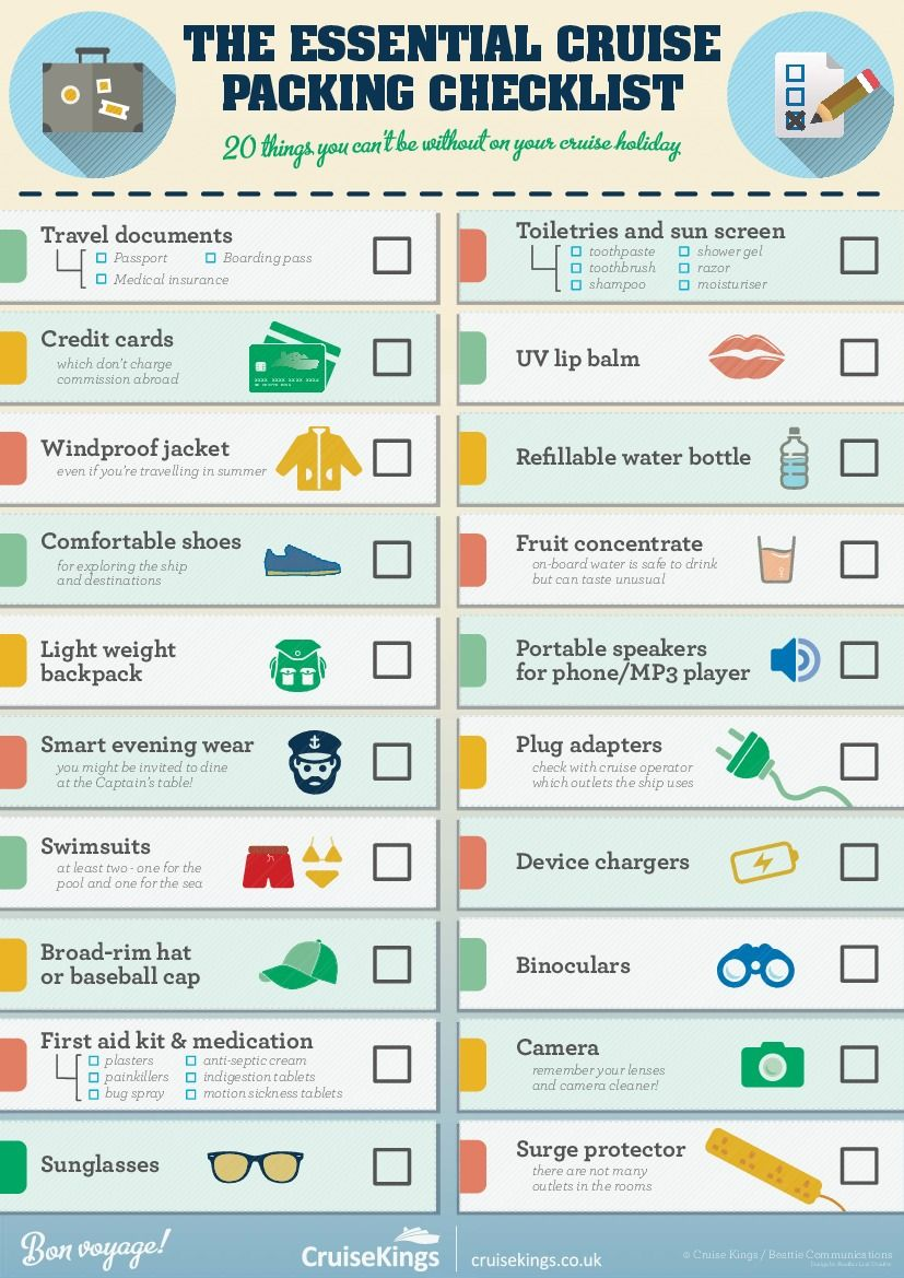 The Essential Cruise Packing Checklist #infographic | Packing ...