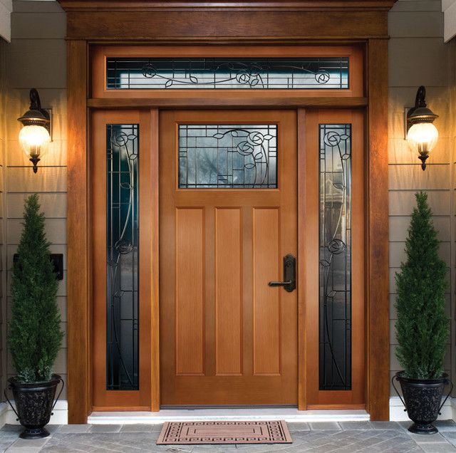 wood front doors entry ideas with twin small pine trees decoration ideas house nobswall - Front Door Designs For Homes