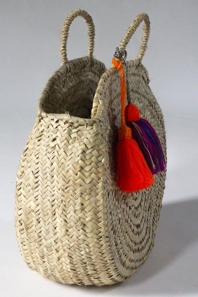 Wicker Basket With Pom Poms : Moroccan market basket pom baskets