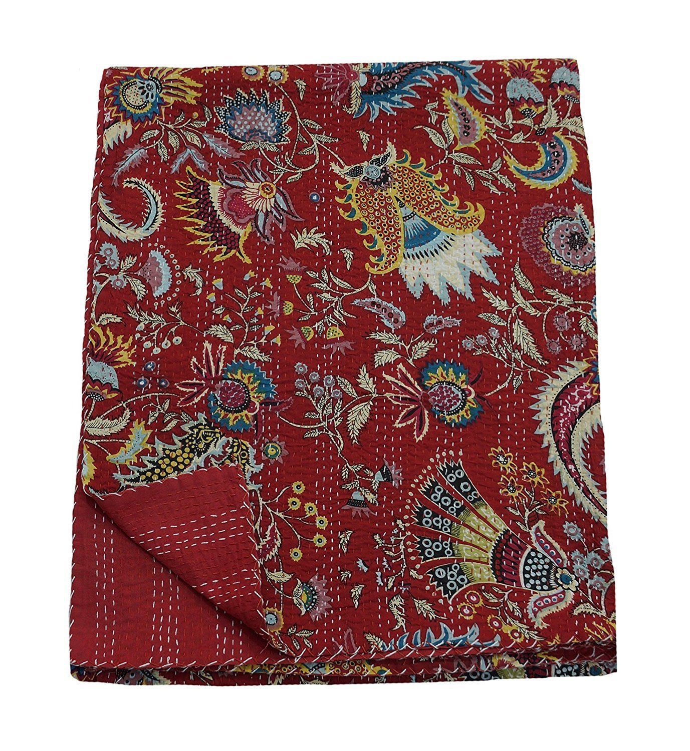 Red crown print kantha quilt Handmade Kantha Quilt  Cotton Traditional Kantha Quilt Kantha Blanket Bed Cover Bedspread Bohemian Bedding