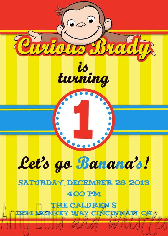 Curious George Birthday Invitation Custom Personalized Digital