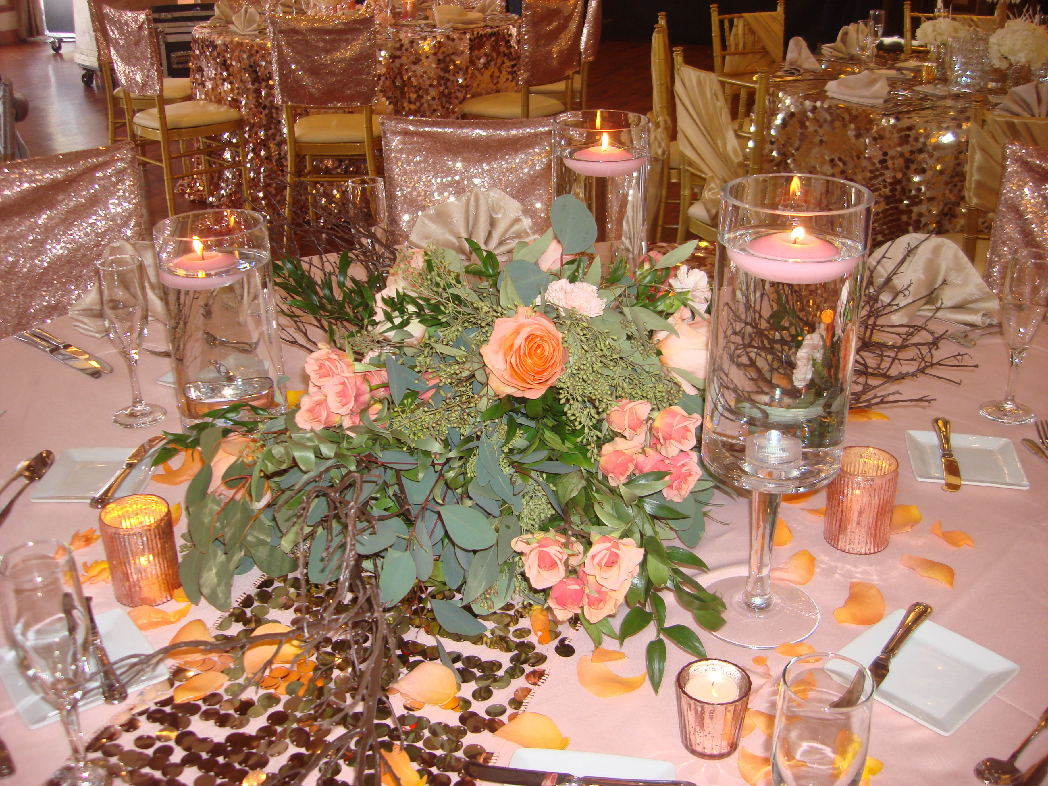 Rustic Branch Blush Pink Floating Candle Wedding Centerpiece Rental Floating Candle Centerpieces Wedding Pink Centerpieces Centerpiece Rentals