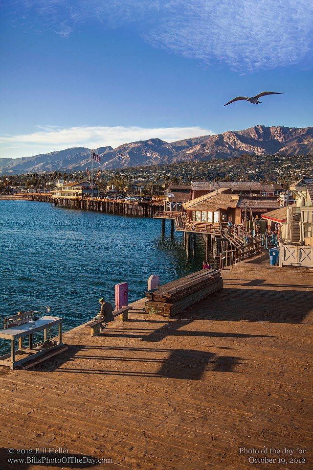 The wharf, Santa Barbara, California by Bill Heller..Stearns Wharf is a pier in the harbor in Santa Barbara, California, United States. When completed In 1872, it became the longest deep-water pier between Los Angeles San Francisco. Named for its builder,  John P. Stearns, the wharf served the passenger  freight needs of California's South Coast for over a quarter century.