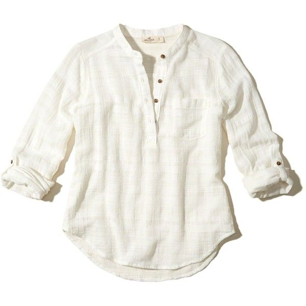 ebf9afe3c2f0f Hollister Textured Cotton Popover Shirt ( 19) ❤ liked on Polyvore featuring  tops