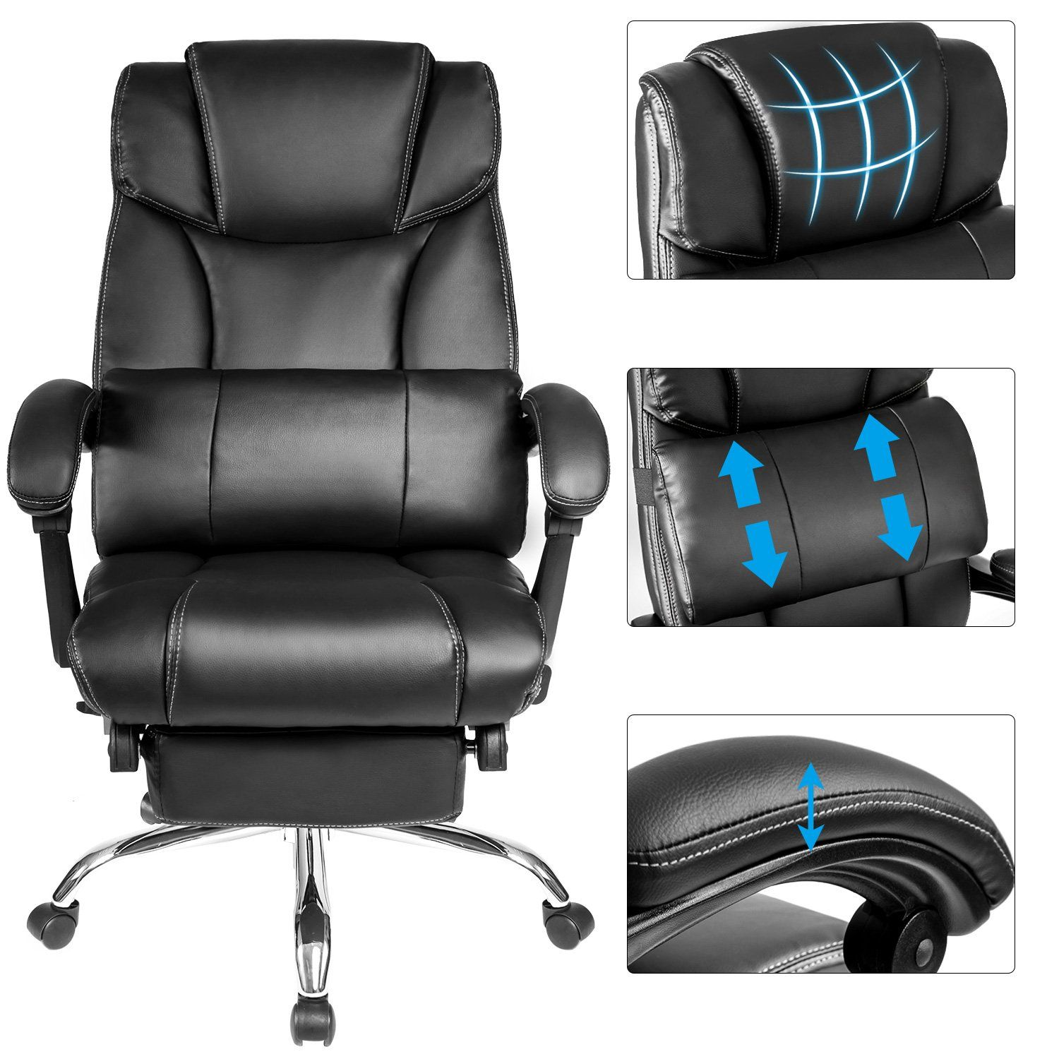 Merax Technical Leather Big Tall Executive Recliner Napping Black More Info Could Be Found At T Reclining Office Chair Executive Office Chairs Office Chair