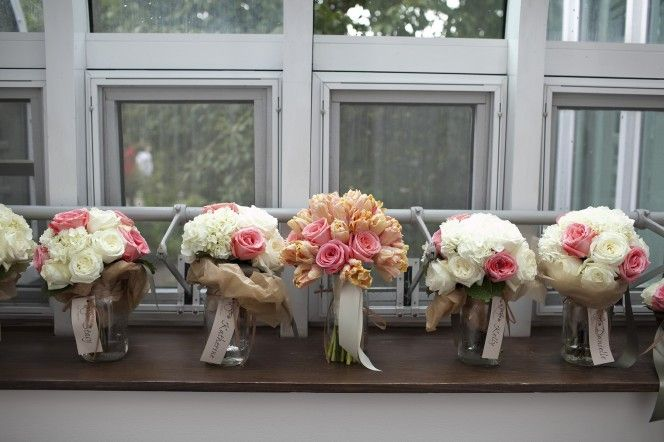 Jars With Bridesmaids' Names On Them For Keeping The
