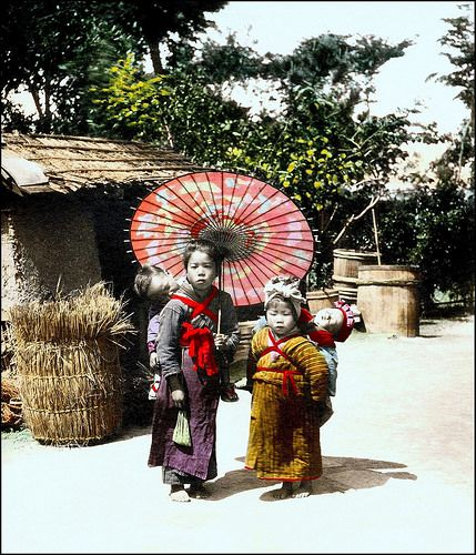 LITTLE BABYSITTERS WITH LITTLE BABIES -- A RURAL SCENE in OLD JAPAN | by Okinawa Soba (Rob)