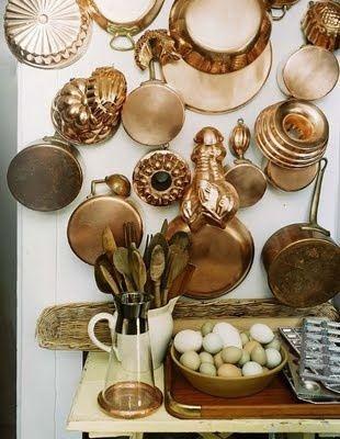 Copper Tins Kitchen Wall Decor Vintage Bakeware Copper Kitchen