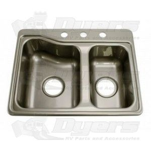 Mobile Outfitters 25 X 19 Stainless Steel Color Abs Double Bowl Kitchen Sink Sinks Sink Drain Plumbing Double Sink Double Bowl Kitchen Sink Best Bath