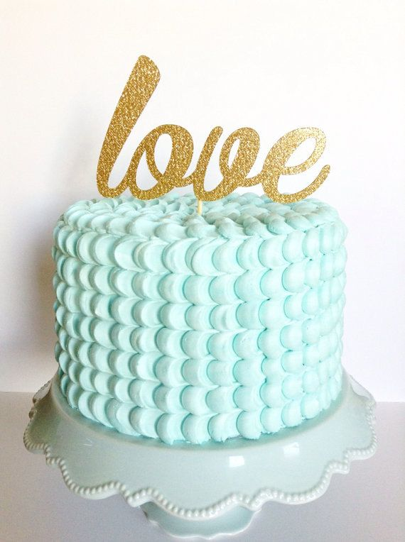 Personalized Gold glitter love cake topper for a wedding
