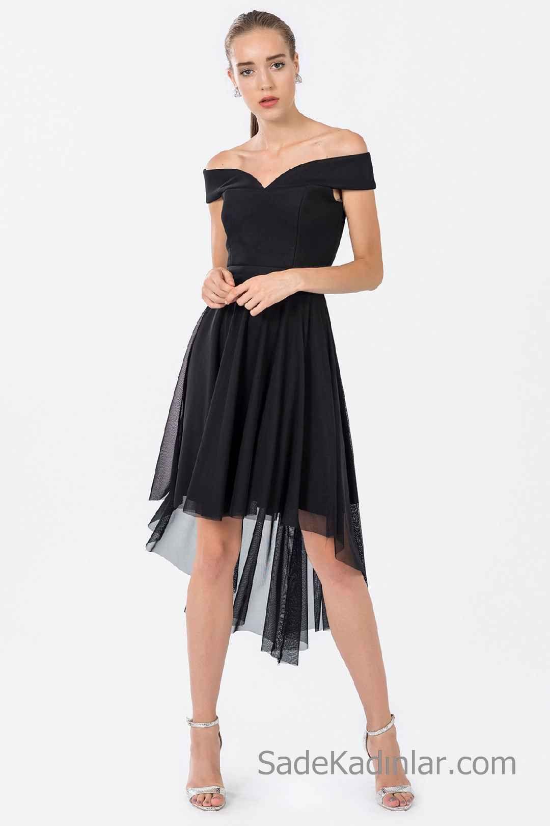 9da422a54adb4 Siyah Kısa Elbise Modelleri Geniş V Yakalı Ön Kısa Arkası Uzun Tül Etekli