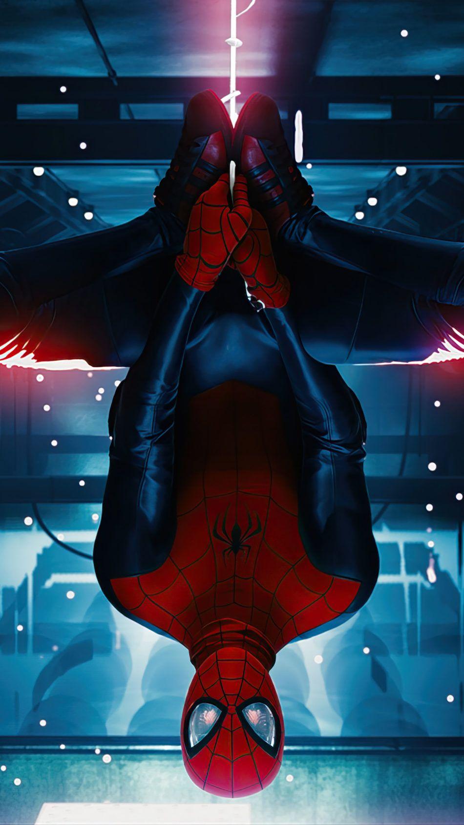 Spider Man Miles Morales Hanging Upside Down 4k Ultra Hd Mobile Wallpaper Spiderman Spiderman Upside Down Spiderman Comic