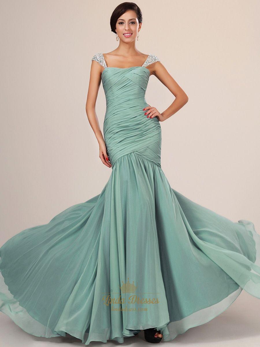 Flowy sage cap sleeve chiffon mermaid prom dresses with