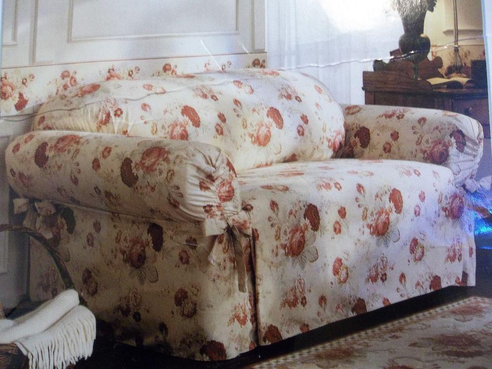 Surprising Waverly Vintage Norfolk Rose Loveseat Slipcover Andrewgaddart Wooden Chair Designs For Living Room Andrewgaddartcom