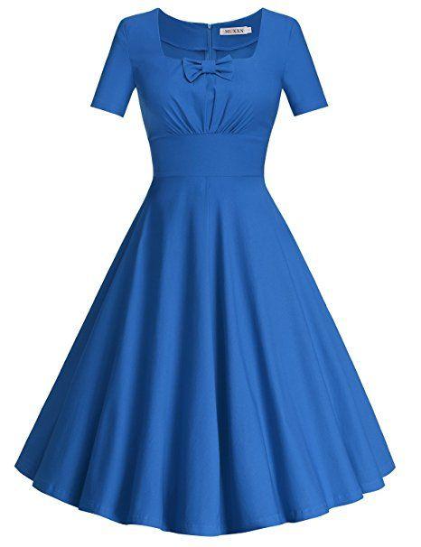 f620488080db MUXXN Women's Retro 50s Short Sleeve Vintage Rockabilly Swing Dress at  Amazon Women's Clothing store: