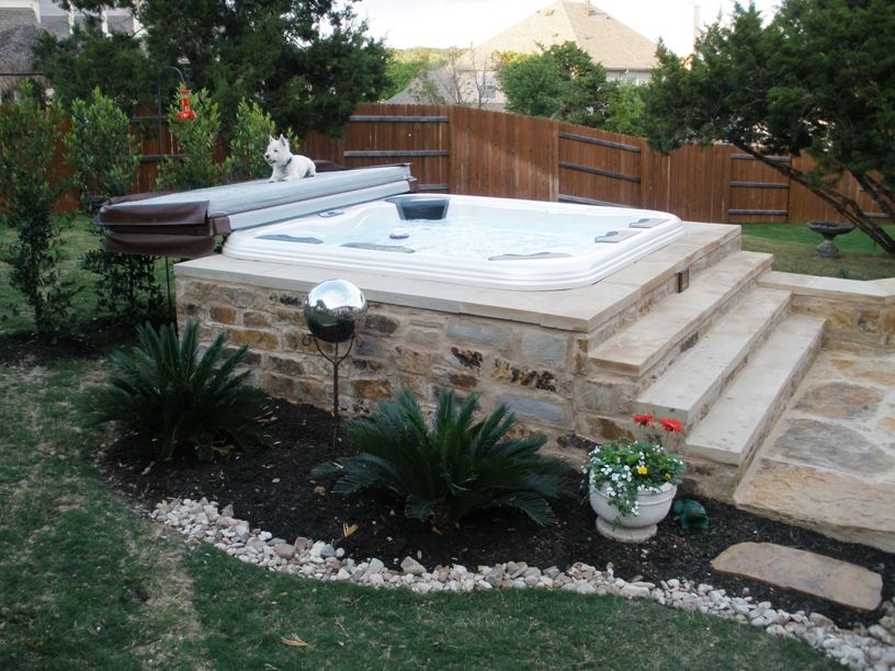 hot tub landscaping A5 Moore