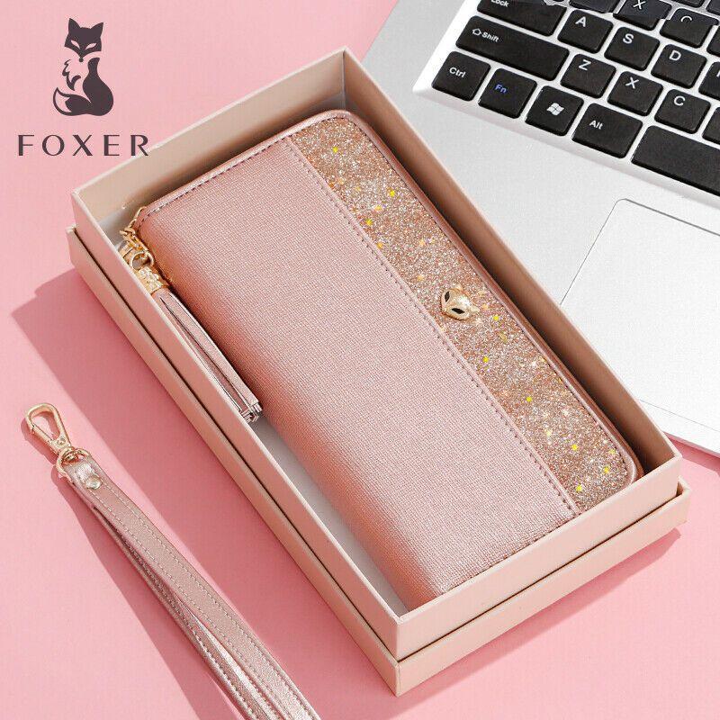 e0a6a7998b5 Women Cow Leather Long Wallets w/ Wristle Luxury Purse Clutch Fit iPhone 8  Plus #FOXER #Casual
