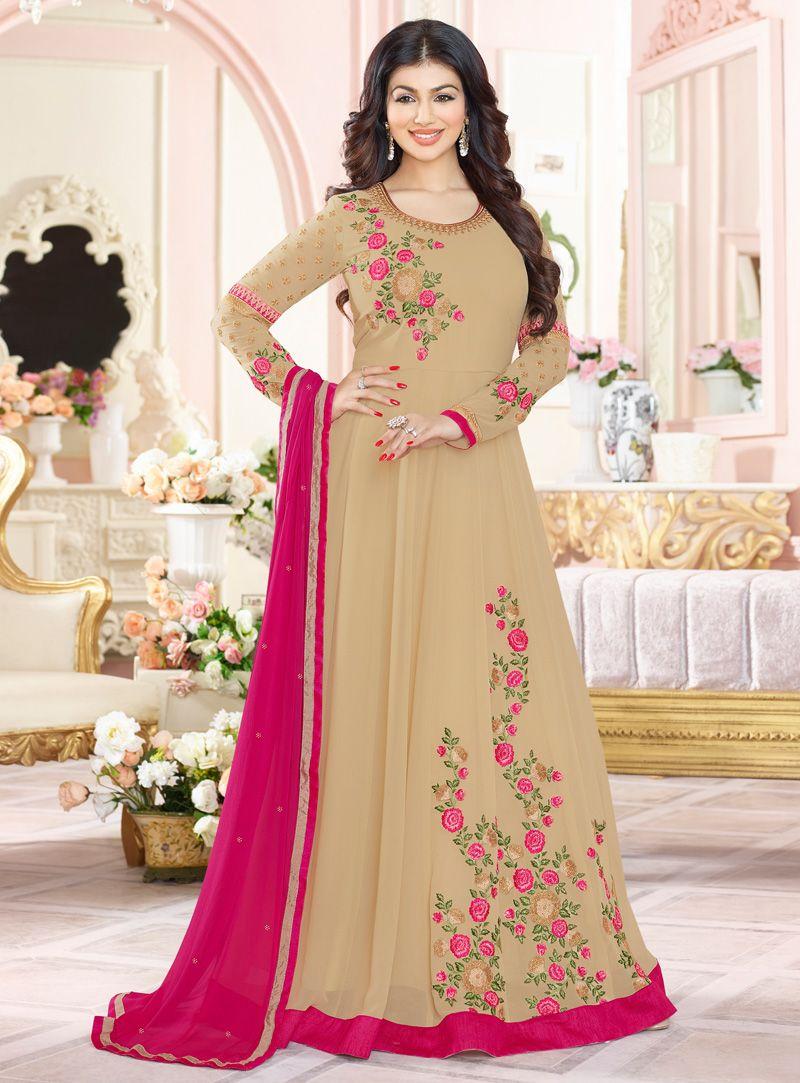 6c0507b1c5 Ayesha Takia Beige Georgette Long Anarkali Suit 114826   Bollywood ...