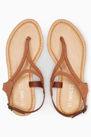7b8689d0a116f5 Buy Tan Leather Plait Toe Thong Sandals from Next Slovakia
