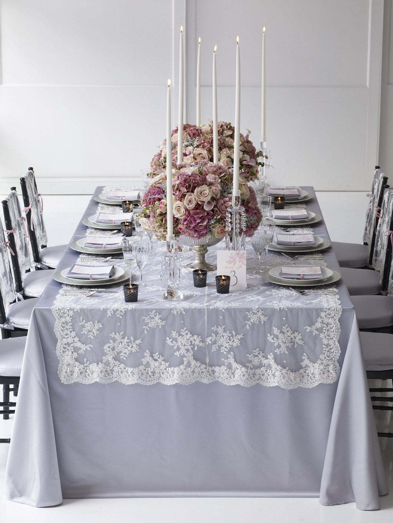 Gray Table Cloth, Lace Table Runner