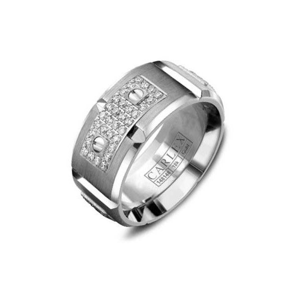 Crown Ring Carlex Diamond Link Inlay Mens Wedding Band 20740 SAR Liked On