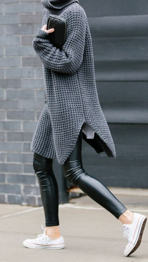fall inspiration / long sweater + converse + leather pants #omgoutfitideas #outfits #womensfashion