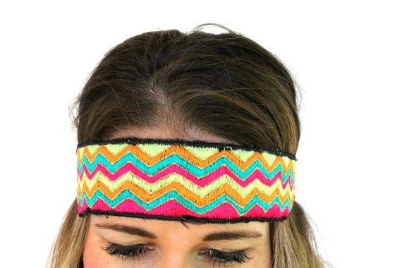 Bright Chevron Embroidered Headband by RuralHaze on Etsy