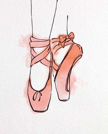 8e7a153d5f19d Color Me Happy Ballet Shoes En Pointe Orange Watercolor Part III ...