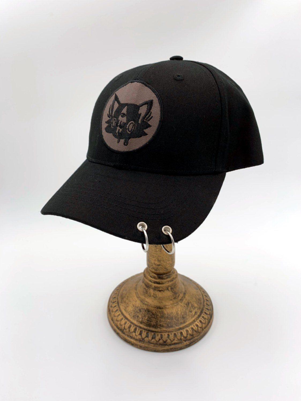 9778d59ba9a42 Kitty kat piercing black baseball hat! Art by lolimoog !